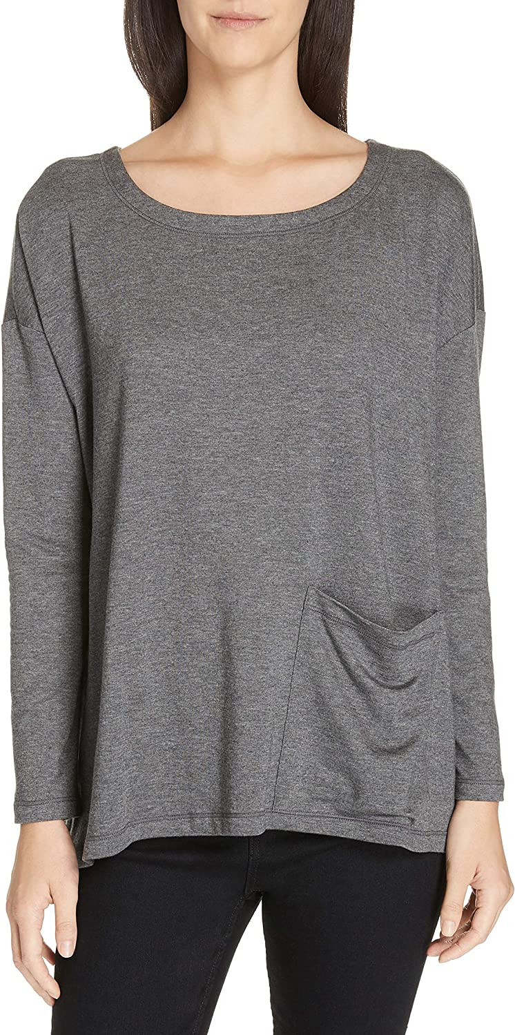 Eileen Fisher Ash Tencel Stretch Terry Ballet Neck Tunic XS MSRP $158