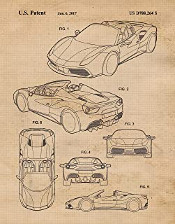 Original Ferrari 488 Patent Poster Prints, Set of 1 (11x14) Unframed Photo, Wall Art Decor Gifts Under 15 for Home, Office, Garage, Man Cave, Shop, Teacher, College Student, Italy Cars & Coffee Fan
