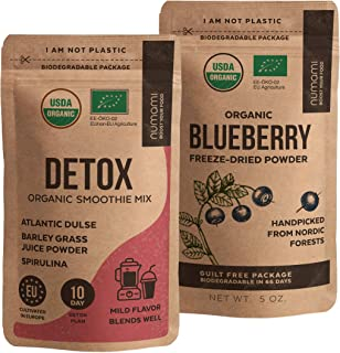 Numami Detox Smoothie Powder and Wild Blueberry Powder for Your Full Body Cleanse Smoothie