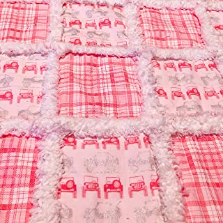 Pink and silver Jeep mini baby rag quilt lovey sized for your sweet girl
