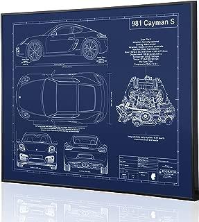 Porsche 981 Cayman S Blueprint Artwork-Laser Marked & Personalized-The Perfect Porsche Gifts