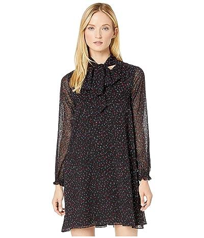 CeCe Long Sleeve Wistful Blooms Dress with Neck Tie (Rich Black) Women