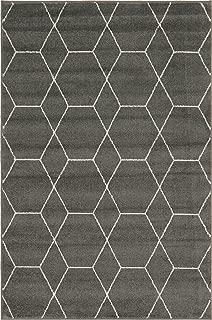 Unique Loom Trellis Frieze Collection Lattice Moroccan Geometric Modern Dark Gray Area Rug (4' 0 x 6' 0)