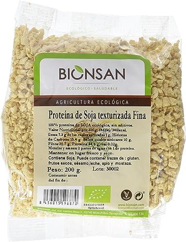 Bionsan Proteína de Soja Texturizada Fina Ecológica | 6 Bolsas de 200 gr | Total: 1200 gr