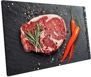 Black Angus Rib Eye Beef Steak Food Kitchen Box Framed Canvas Art picture Print