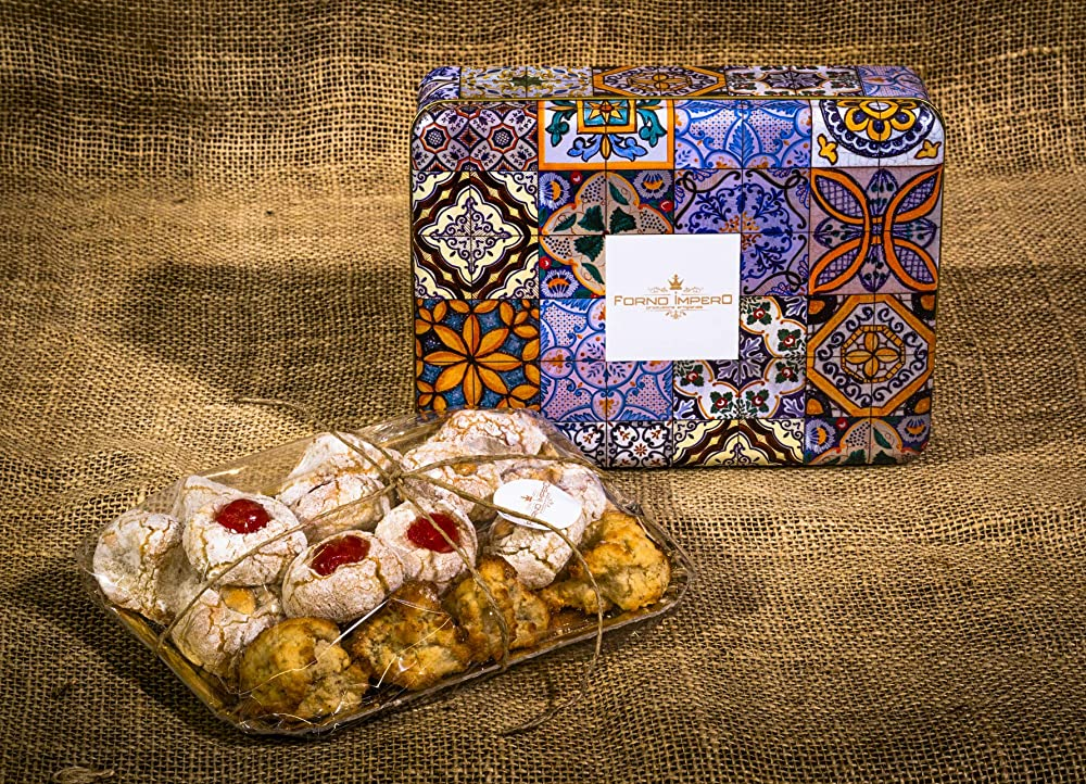 Forno impero,pasticcini di mandorla,prodotti tipici siciliani,in confezione di maiolica,450 gr