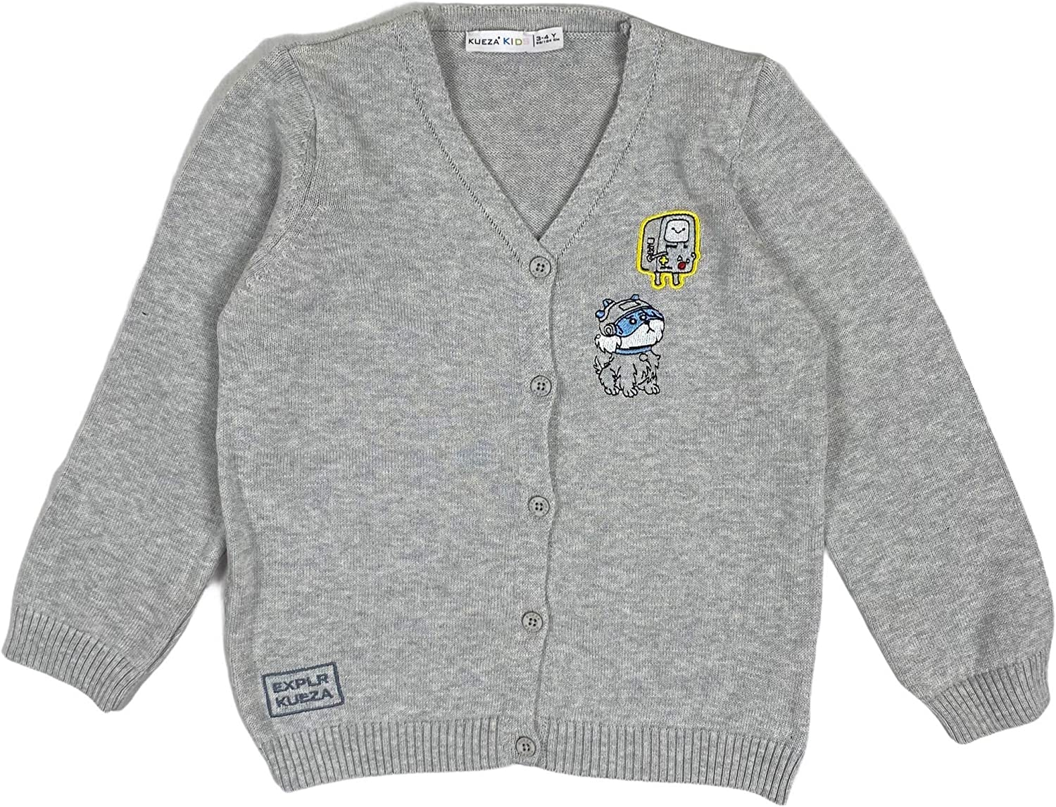 Kueza Baby /& Toddler Boys Knitwear EXPLR Embroidered Button-Down Grey V Neck Cardigan 6mths-5yrs 100/% Cotton