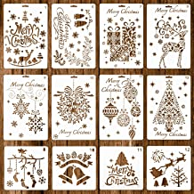 Whaline 12 Pack Christmas Stencils Bullet Journal Templates Reusable Plastic for Craft Art Drawing Painting Spraying Windo...