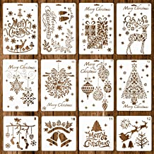 Whaline 12 Pack Christmas Stencils Bullet Journal Templates Reusable Plastic for Craft Art Drawing Painting Spraying Window Glass and Card DIY Drawing Painting Craft Projects (2 Sizes)