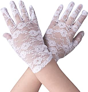 Women's Vintage Sheer Floral Lace Wrist Length Gloves