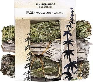 JUNIPER RIDGE Mini Incense Smudge Wands - Organic Smudge - Aromatherapy & Meditation Therapy - No Synthetic Fragrance - White Sage, Mugwort & Siskiyou Cedar Smudge Sticks - Pack of 3