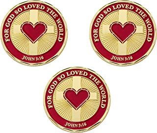 God Loves You Coin, Bulk Pack of 3, for God So Loved The World, John 316 Religious Scripture Gift for Men & Women, Gold Pl...