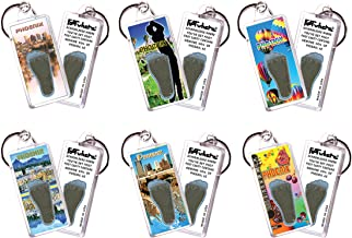 """product image for Phoenix""""FootWhere"""" Souvenir Keychains. 6 Piece Set. Made in USA"""