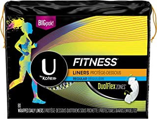 U by Kotex Fitness Pantiliners, Light Absorbency Liners, Regular, Fragrance-Free, 80 Count (Pack of 6) (Packaging May Vary)