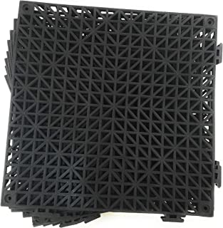 Set of 9 Interlocking BLACK Floor Tiles- 11.5 square inches each tile - Non-Slip Tread - Wet Areas like Pool Shower Locker-Room Bathroom Deck Patio Garage Boat. Can be cut to fit - FoghornConstruction