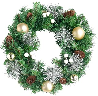 NIKKY HOME Christmas Wreath with Pine Cones and Gold Balls Snowflakes Garlands - 18 inch