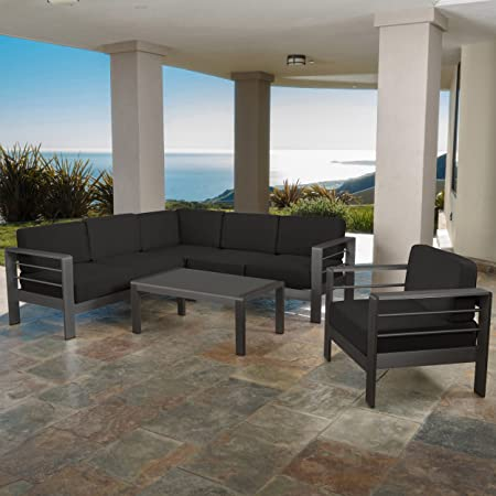 Christopher Knight Home Coral Bay Outdoor Grey Aluminum 5 Piece V-Shape Sectional Sofa Set with Club Chair