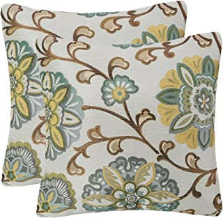 Pack of 2 Simpledecor Throw Pillow Covers Decorative Pillow Cases, 20X20 Inches, Jacquard Floral Pattern, Teal Brown Cream