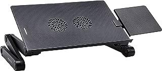 AmazonBasics Portable Adjustable Aluminum Laptop Stand with CPU Fans, Black