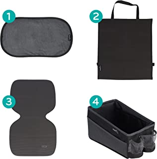 Car Seat Accessory Kit, Includes Window Cling Shade/Kick Mat/Caddy Organizer/Undermat Seat Protector