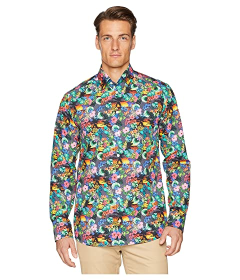 Eton Slim Fit Tropical Print Shirt