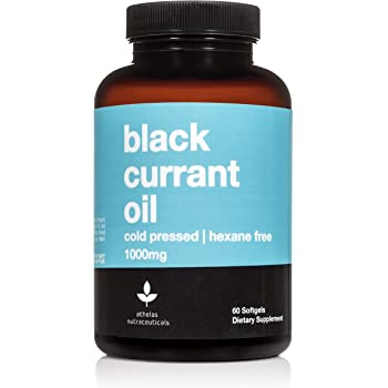 Black Currant Oil 1000mg - Cold Pressed - Hexane Free - High in GLA - Supports Healthy Hair, Skin, and Nails - Assists Menstrual Cycle - Premium Black Currant Seed Oil Softgel Supplement