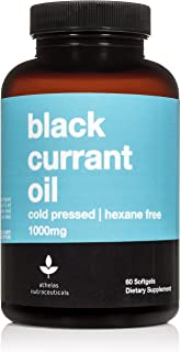 Black Currant Oil 1000mg - Cold Pressed - Hexane Free - High in GLA - Supports Healthy Hair, Skin, and Nails - Assists Men...