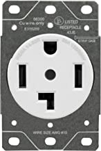ENERLITES 66300 30 Amp Electrical Dryer Outlet   NEMA 14-30R, Outdoor/Indoor, Flush Mount Receptacle, 3-Pole, 4 Wire, (10,8,6,4) AWG, Industrial Grade, 125/250V, 66300-W   White