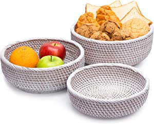 LABACRAFT Rattan Bread Baskets for Kitchen Counter Set 3 Straw Basket Potato Holder Fruit Storage Countertop Key Bowl Entryway Table Wicker Woven Vegetable (Combo 3, White Wash)