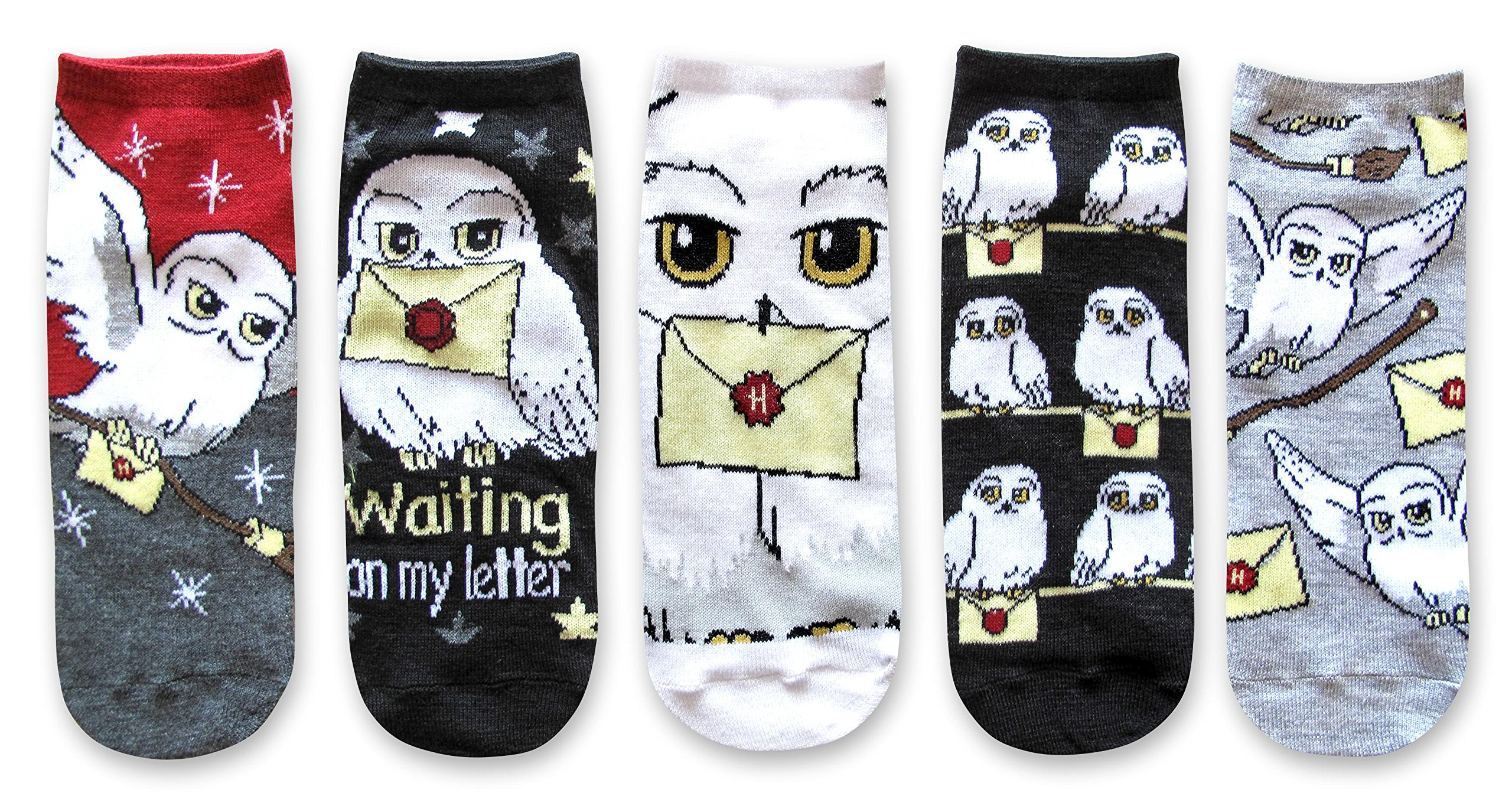 Hyp Harry Potter Hedwig Hogwarts Letter Juniors/Womens 5 Pack Ankle Socks Size 4-10