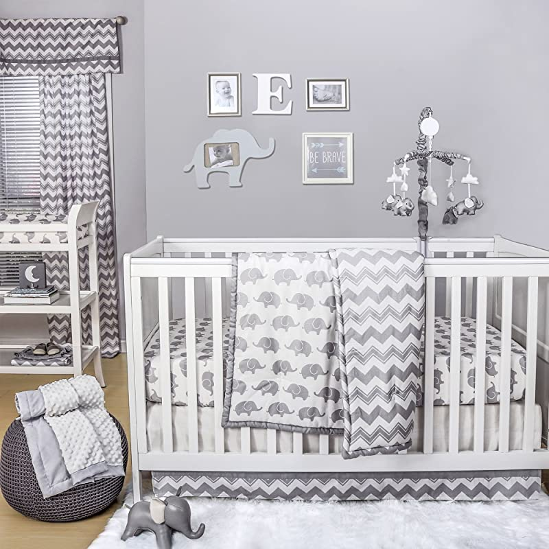 Grey Elephant And Chevron 4 Piece Baby Crib Bedding Set By The Peanut Shell