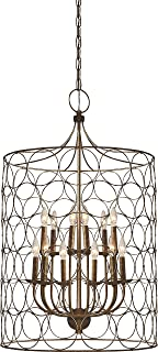 Flores Circle Design 12-Light Candle-Style Chandelier Uptown Steel gold Cage Lamp