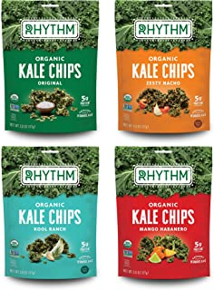 Rhythm Superfoods Kale Chips, Variety Pack, Original/Zesty Nacho/Kool Ranch/Mango Habanero, Organic and Non-GMO, 2.0 Oz (P...