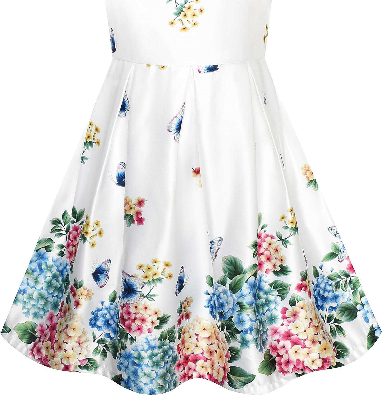 Sunny Fashion Vestido para ni/ña Sat/ín Seda Mariposa Ciudad Edificio Ver Rosa 4-10 a/ños