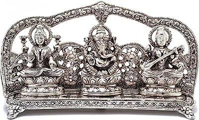 Two Moustaches Aluminium Laxmi Ganesha Saraswati Idol, Standard, Silver, 1 Piece