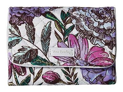 Vera Bradley Iconic RFID Riley Compact Wallet (Lavender Meadow) Wallet Handbags