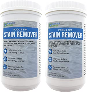 Essential Values 2 Pack Swimming Pool & Spa Stain Remover (4 LBS Total) - Natural & Safe, Works for Vinyl Liners, Fiberglass, Metals – Removes Rust & Other Tough Stains Without Harsh Chemicals