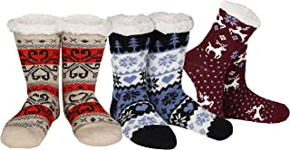 Gilbins Winter-Weight Thermal Thick Knit Fleece-Lined Cozy Sherpa Lined Fuzzy Slipper Socks With Grippers (3 Pack)