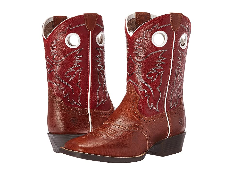 Ariat Kids Roughstock Two-Tone (Toddler/Little Kid/Big Kid) (Tan/Cherry Red) Cowboy Boots