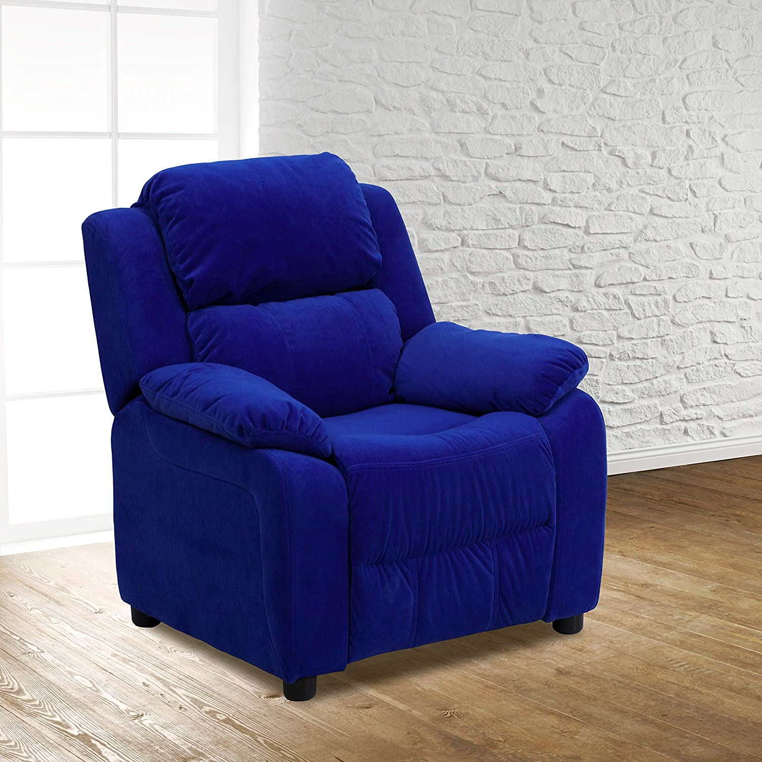 EMMA + OLIVER Deluxe Padded Blue S with Microfiber Year-end annual Large-scale sale account Recliner Kids