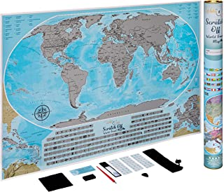 Scratch Off Map of The World - 24 x 36 Large and Very Detailed Travel Map with Flags by Wishes and Smiles - Hang on Wall Using a Standard Poster Frame - Blue and Silver Unique Art for a Perfect Gift