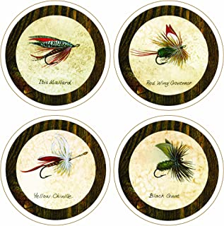 "CoasterStone AS1790""Arnie Fisk-Fishing Flies Collection"" Absorbent Coasters, 4-1/4-Inch, Set of 4"
