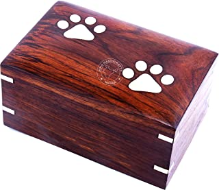 Hind Handicrafts Brass Paw Inlaid Rosewood Pet Urn for Dogs Cats Memorial Keepsake Urns for Ashes, Photo Wooden Box Cremat...