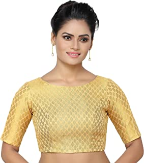 915a1ee26911de MADHU FASHION's Women's Golden Banaras Brocade Readymade Saree Blouse with  Elbow Length Sleeves & with Boat