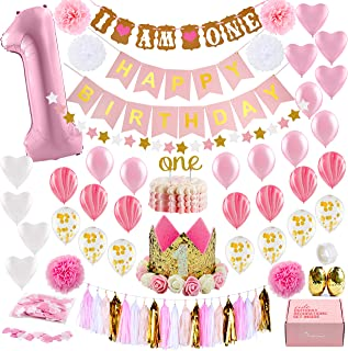 1st Birthday Girl Decorations WITH Birthday Crown- Baby First Birthday Decorations Girl - Pink and Gold Party Supplies - One Balloon, Heart and Confetti Balloons, Happy Birthday Banner ONE Cake Topper