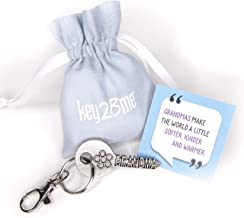 key2Bme Grandma Key - Grandmother Flower Keychain & Inspirational Quote - Cool Fun Unique Best Small Mother Day Gift Under $10 for New Great Grandmother Birthday from Grandson Granddaughter