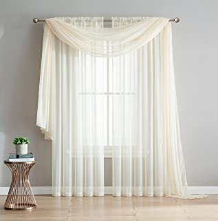 DecoSource 2-Piece Rod Pocket Sheer Panel Curtains Fabric Sheer - Voile Curtains for Window Treatment - Natural Light Flow (56