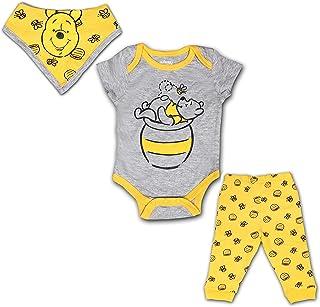 Winnie The Pooh 3 Pack Jogger, Onesie and Bib Set, Sleepwear Bodysuit Bundle for Baby