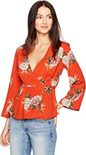 ASTR the label Women's Wrap Front Long Sleeve Floral Print Top