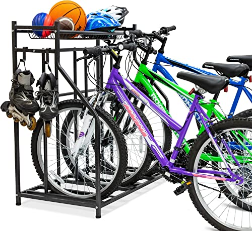 new arrival Bike new arrival Storage Rack 2021 for Garage, 3 Bicycle Floor Parking Stand, Free Standing Bike Rack and Sports Organizer for Road, Mountain, Hybrid or Kids Bikes online